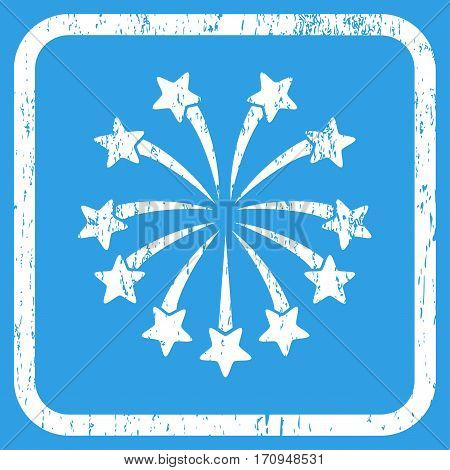 Spherical Fireworks rubber watermark. Vector pictogram symbol inside rounded rectangle with grunge design and dust texture. Stamp seal illustration. Unclean white ink sign on a blue background.