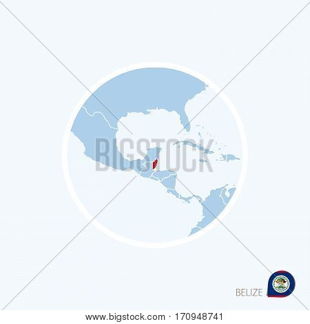 Map Icon Of Belize. Blue Map Of Central America With Highlighted Belize In Red Color.