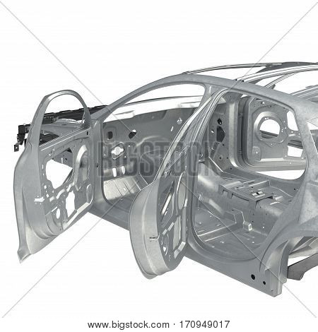 Skeleton of a car with opened doors on white background. 3D illustration
