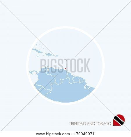 Map Icon Of Trinidad And Tobago. Blue Map Of Caribbean With Highlighted Trinidad And Tobago In Red C