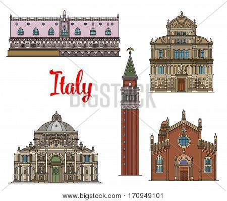 Italian travel landmarks of Venice icon set. Linear gothic Doge Palace, Church of San Zaccaria, Basilica of Saint Mary of Health, Church Madonna dellOrto and bell tower St Mark Campanile