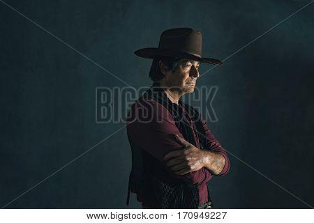 Profile Shot Of Retro 1960S Cowboy Actor.