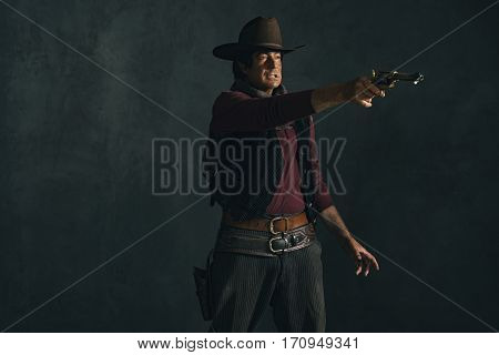 Vintage Late 1960S Spaghetti Western Actor. Shooting With Revolver.