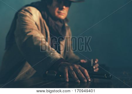 Alert Retro Late 1960S Mexican Western Actor Sitting At Bar Holding Revolver.