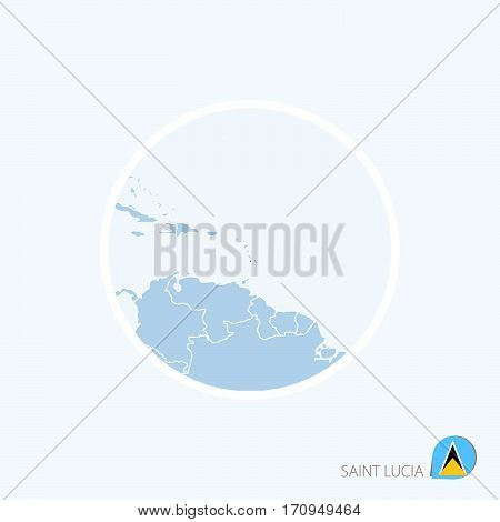 Map Icon Of Saint Lucia. Blue Map Of America With Highlighted Saint Lucia In Red Color.