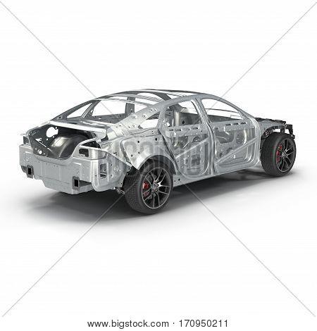 Skeleton of a car on white background. 3D illustration