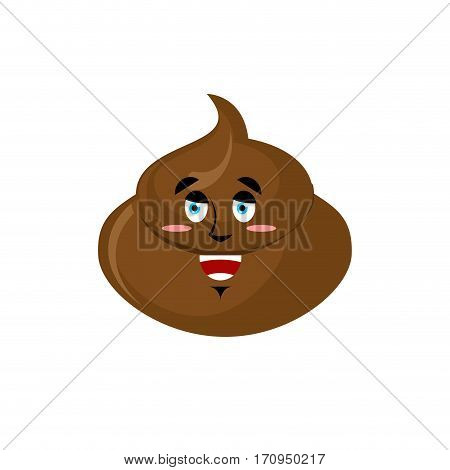 Shit Happy Emoji. Turd Merry Emotion Isolated