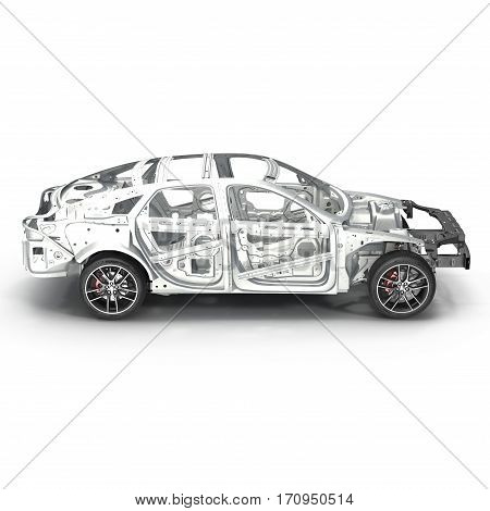 Skeleton of a car with Chassis on white background. Side view. 3D illustration
