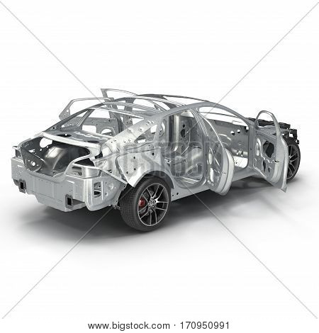 Sedan without cover on white background. Rear view. 3D illustration