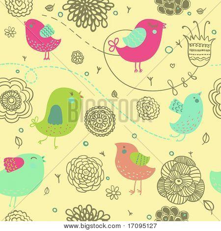 Nice spring background - cartoon birds in flowers