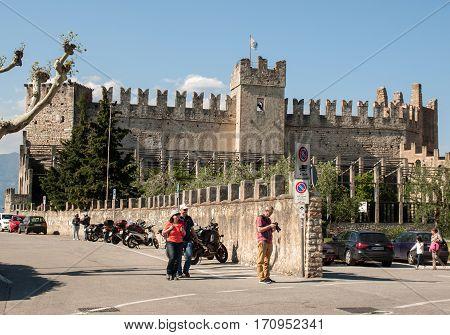 TORRI DEL BENACO, ITALY - MAY 4, 2016: Old Castle in Torri del Benaco at Garda Lake in Italy