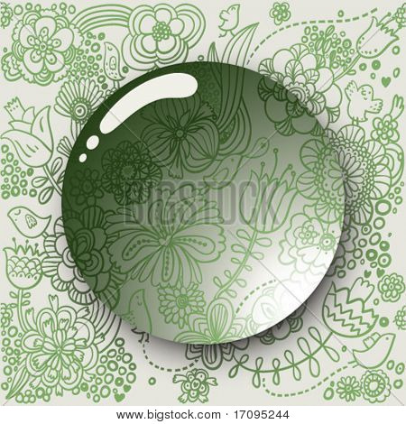 Lens on a cute green floral background in vector