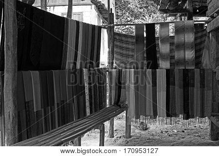 Chiang Rai Thailand fabric textile village black white