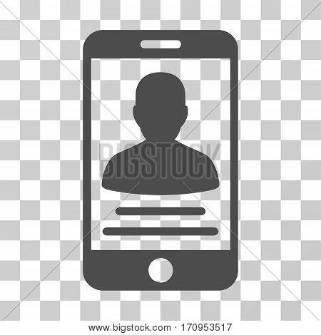 Mobile Account icon. Vector illustration style is flat iconic symbol gray color transparent background. Designed for web and software interfaces.