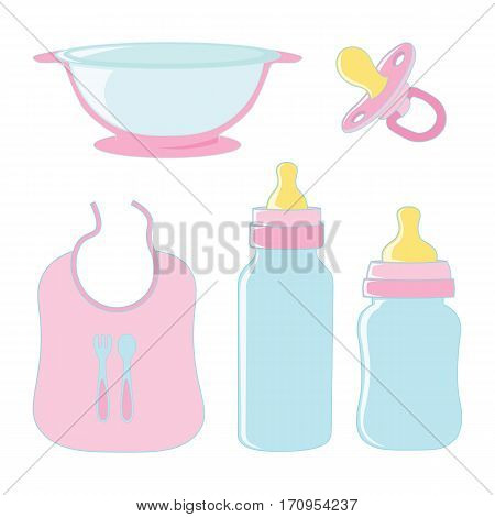 Set of dishes for food and pacifier for girl baby.