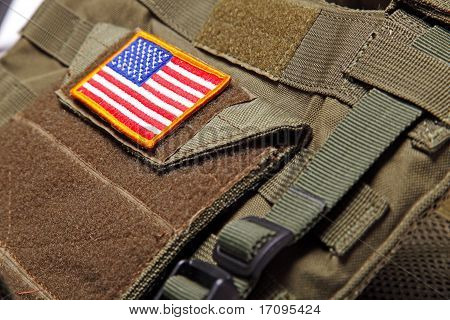 American Flag On Bulletproof Vest