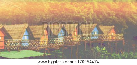 Abstract blurred background wooden hut beautiful colorful