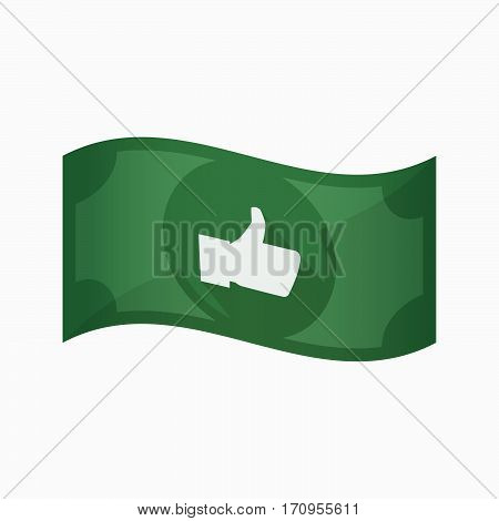 Isolated Bank Note With A Thumb Up Hand