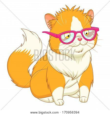 Funny cartoon furry cat in pink glasses on the white background.