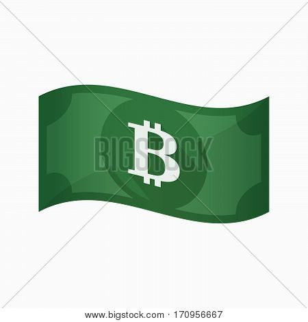 Isolated Bank Note With A Bit Coin Sign