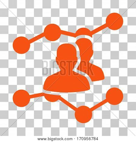 Audience Trends icon. Vector illustration style is flat iconic symbol orange color transparent background. Designed for web and software interfaces.
