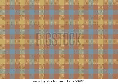 Brown beige blue check fabric texture background seamless pattern. Vector illustration. EPS 10.
