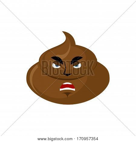 Shit Angry Emoji. Turd Aggressive Emotion Isolated