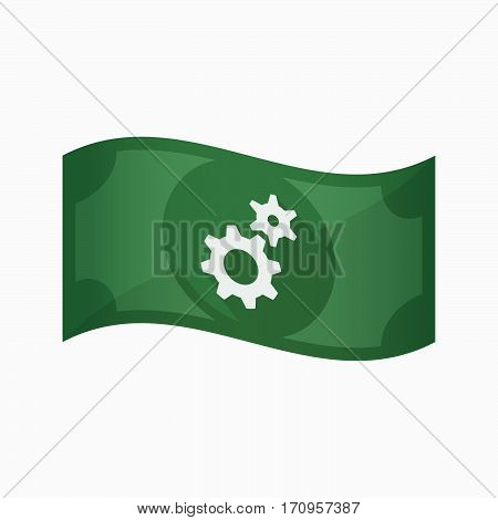 Isolated Bank Note With Two Gears