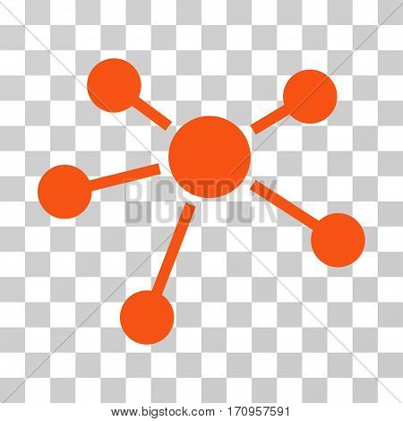 Connections icon. Vector illustration style is flat iconic symbol orange color transparent background. Designed for web and software interfaces.