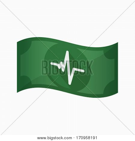 Isolated Bank Note With A Heart Beat Sign