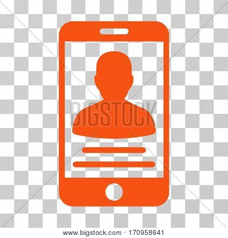 Mobile Account icon. Vector illustration style is flat iconic symbol orange color transparent background. Designed for web and software interfaces.