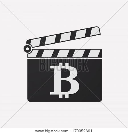 Isolated Clapper Board With A Bit Coin Sign