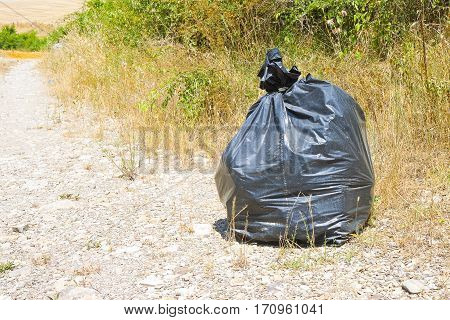 Illegal dumping in the nature; garbage bags left in the nature - image with copy space