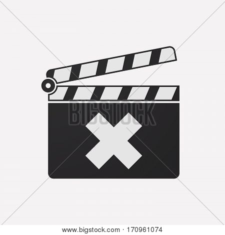 Isolated Clapper Board With An X Sign