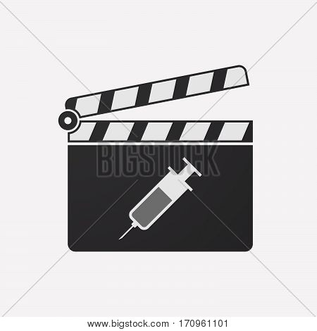 Isolated Clapper Board With A Syringe