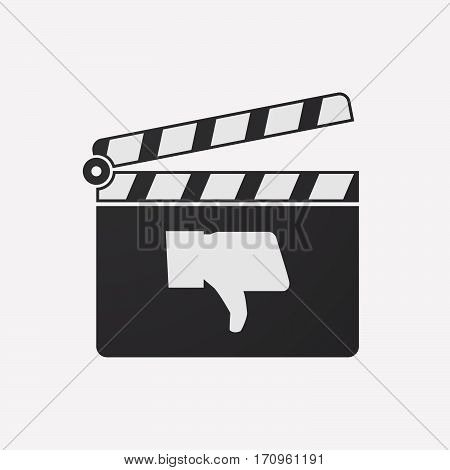 Isolated Clapper Board With A Thumb Down Hand