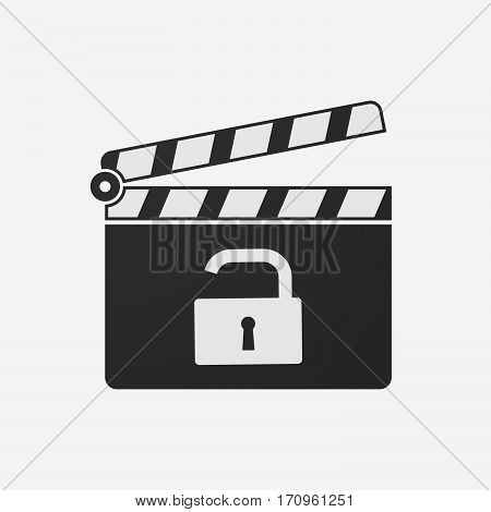 Isolated Clapper Board With An Open Lock Pad