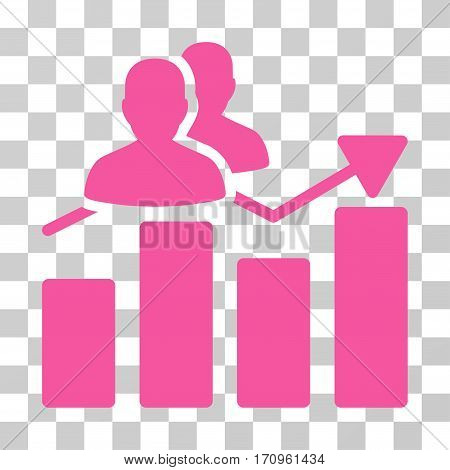 Audience Graph icon. Vector illustration style is flat iconic symbol pink color transparent background. Designed for web and software interfaces.