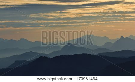 Early morning in the Swiss Alps. View from mount Rigi.