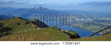 Summer scene in Switzerland. View from mount Rigi towards mount Pilatus and Lucerne.