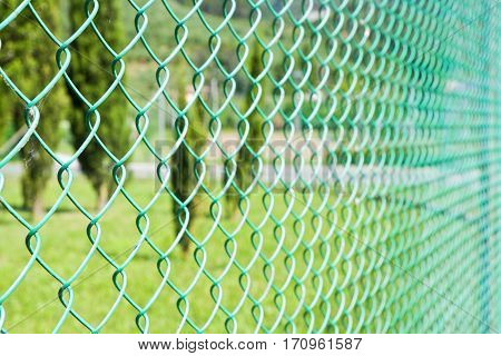 Wire mesh in the woods - image with copy space
