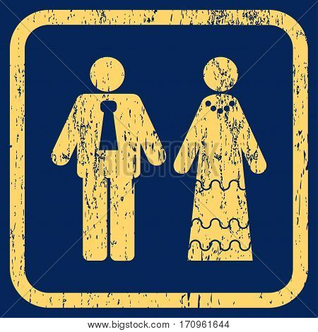 Newlyweds rubber watermark. Vector icon symbol inside rounded rectangle with grunge design and dust texture. Stamp seal illustration. Unclean yellow ink sticker on a blue background.