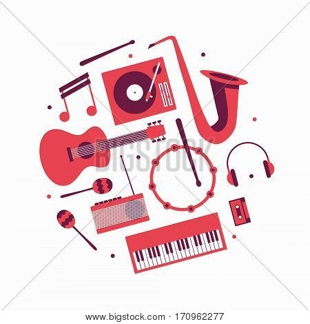 Music, vector flat illustration, icon set. Guitar, turntable, note trumpet headphones drum radio maracas piano cassette