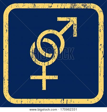Sex Symbol rubber watermark. Vector pictogram symbol inside rounded rectangle with grunge design and dirty texture. Stamp seal illustration. Unclean yellow ink sign on a blue background.
