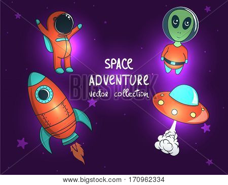 collection of space objects and characters.Rocket , alien, ufo and astronaut.Cosmic vector illustration