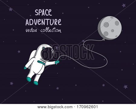 spaceman in outer space with moon like a balloon.Cartoon childish vector illustration