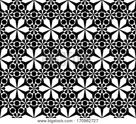 Vector monochrome seamless pattern, simple black & white ornamental texture, stylish floral geometric background. Abstract repeat backdrop. Design for decor, prints, textile, furniture, cloth, digital