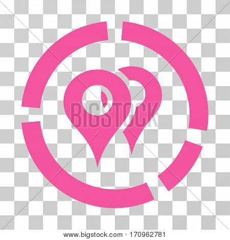 Geo Diagram icon. Vector illustration style is flat iconic symbol pink color transparent background. Designed for web and software interfaces.