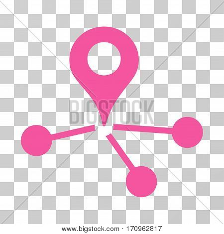 Geo Network icon. Vector illustration style is flat iconic symbol pink color transparent background. Designed for web and software interfaces.