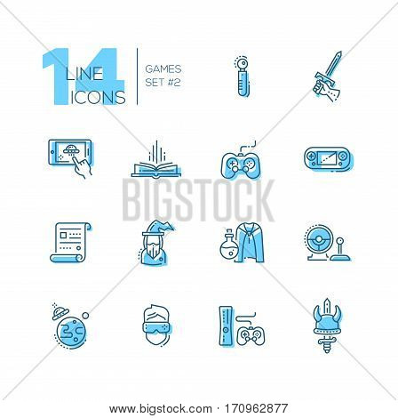 Video - modern vector line design icons set with accent color. Joystick, sword, mobile device app, book, portable, game console, paper, wizard, magic accessories camera ufo virtual reality. Material design concept symbols
